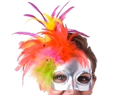 Silver Feathered Mardi Gras Mask