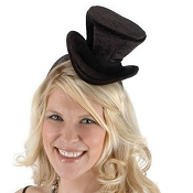 Mini Velvet Top Hat Black