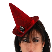 Mini Lace Witch Hat Red