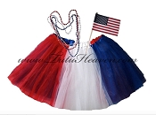 Adult Plus Size 4th of July American Flag Tutu Set