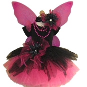 Gothic Spider Fairy Tutu Set Black Hot Pink with Top