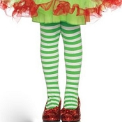Girls White Green Striped Tights