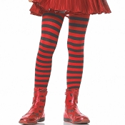 Girls Black Red Striped Tights