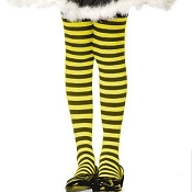 Girls Black Yellow Striped Tights