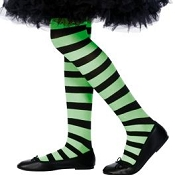 Girls Black Green Striped Tights