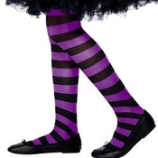 Girls Black Purple Striped Tights