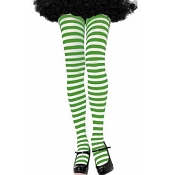 Adults Green White Striped Tights