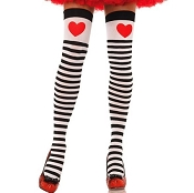 Adults Striped Thigh Highs with Hearts