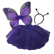 Butterfly Wing Skirt 3pc Set Purple