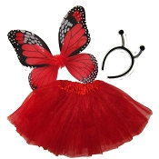 Butterfly Wing Skirt 3pc Set Red