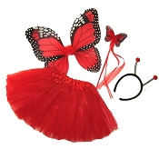 Butterfly Wing Wand Skirt 4pc Set Red