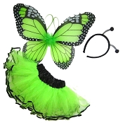 Butterfly Wing Skirt 3pc Set Lime Black