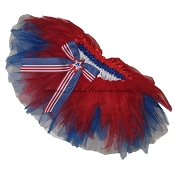 SHORT Shredded July 4th Tutu with Bow