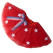 SHORT Red STARS Tutu BOW