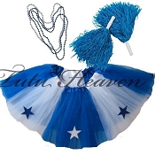 LONG ALL STAR Cheerleader Tutu Set White Royal Blue