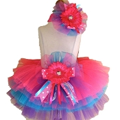 Birthday Tutu Hot Pink Turq Purple