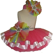 Ribbon Tutu Set Neon Pink Rainbow