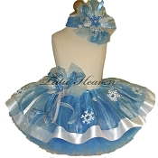 Ribbon Tutu Set Neon Blue Snowflakes