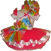 Rainbow Dash Neon Pink Ribbon Tutu Set