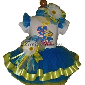 Despicable Me Neon Blue Ribbon Tutu Set