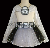 SPACE TROOPER Tutu . Cape . Belt . Gray . 2T to 6X
