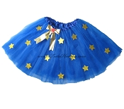LONG Super Hero Tutu Royal Blue with Gold Stars
