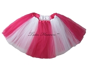 LONG Color Block Tutu White Hot Pink