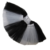 SHORT Color Block Tutu White Black