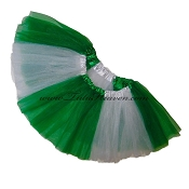 SHORT Color Block Tutu White Kelly Green