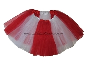 LONG Color Block Tutu White Red
