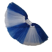 SHORT Color Block Tutu White Royal Blue