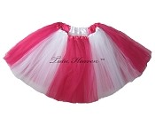 SHORT Color Block Tutu White Hot Pink