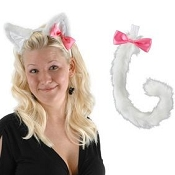 White Kitty Ears and Tail Set