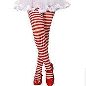 Girls White Red Striped Tights