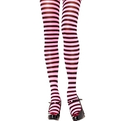 Adults Black Pink Striped Tights