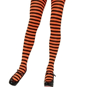 Adults Black Neon Orange Striped Tights