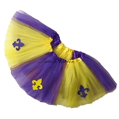 SHORT Mardi Gras Tutu Fleur de Lis Purple Yellow