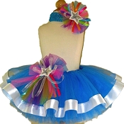 Ribbon Tutu Set Neon Blue Rainbow