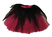LONG Shredded Black Hot Pink Tutu