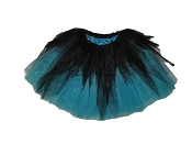 LONG Shredded Black Turquoise Tutu