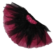 SHORT Shredded Black Hot Pink Tutu