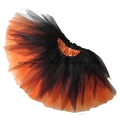 SHORT Shredded Black Orange Tutu