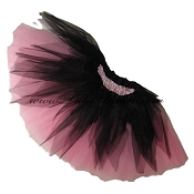 SHORT Shredded Black Light Pink Tutu