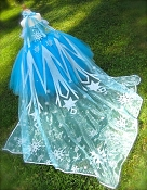 Snow Queen Glitter Snowflake Cape - Long