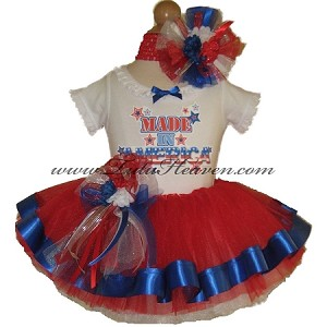 4th of July Ribbon Tutu and Top Set MADE IN AMERICA