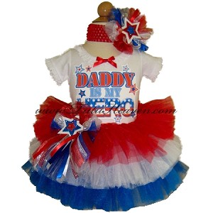 4th of July Tiered Tutu and Top Set DADDY IS MY HERO