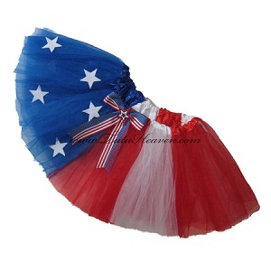 SHORT 4th of July Stars and Stripes Tutu w Bow