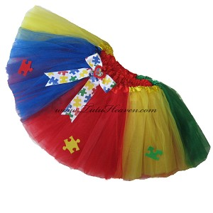 SHORT Autism Awareness Tutu Multi with Bow