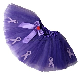 SHORT Alzheimers Awareness PURPLE Tutu Solid with Bow
