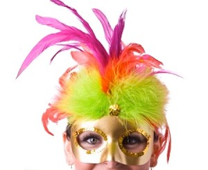 Gold Feathered Mardi Gras Mask